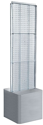 Two-Sided Pegboard Floor Display on Adjustable Studio Base. Panel Size: 16