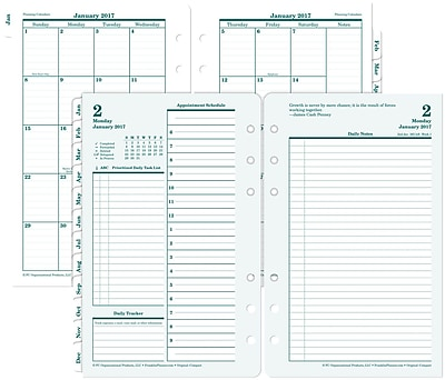 Franklin Covey® Original Two Page Per Day Planner Refill, Loose-Leaf, 2017, 4 1/4