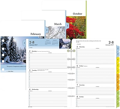 "Day-Timer® Two Page Per Week Serenity Planner Refill, Half-Hourly Appointments, 2017, 5 1/2"" x 8 1/2"" (13691-1701)"