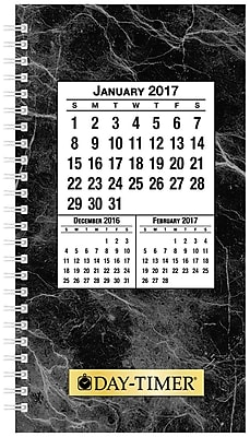 Day-Timer® Two Page Per Day Wirebound Original Planner Refill, Quarter-Hourly Appointments, 3 1/2