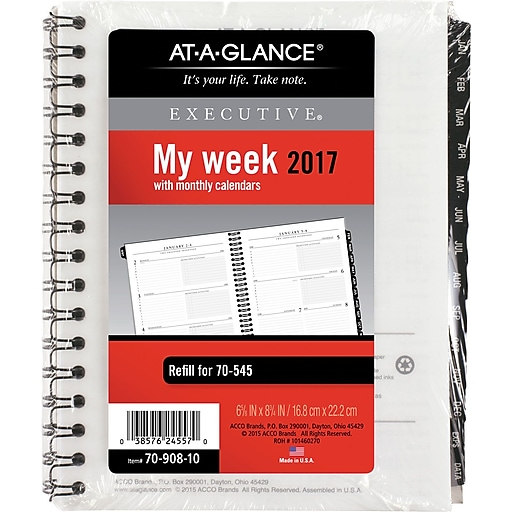 at a glance executive weekly monthly appointment book refill 2017