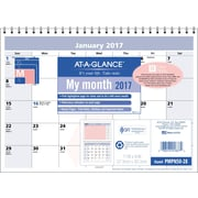 """AT-A-GLANCE® Monthly Wall Calendar, 2017, 11"""" x 8"""", QuickNotes® City of Hope (PMPN50 28 17)"""