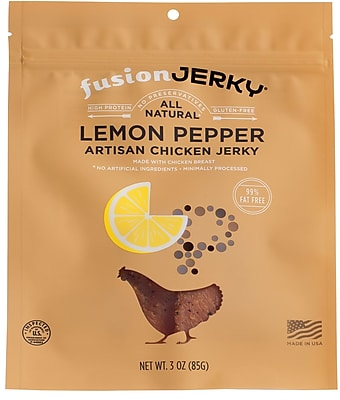 Fusion Lemon Pepper Flavored Chicken Jerky 3oz