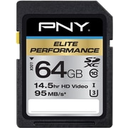 PNY Elite Performance 64 GB High Speed SDXC Class 10 UHS-I, U3 up to 95 MB/Sec Flash Card
