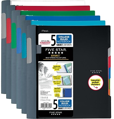 Five Star® Advance® Wirebound Notebook, 5 Subject, College Ruled, 11