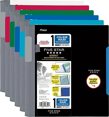 Five Star® Advance® Wirebound Notebook, 1 Subject, College Ruled, 11