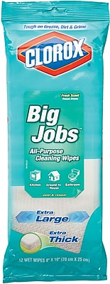 Clorox Big Jobs All-Purpose Cleaning Wipes, Fresh Scent, 12 Count