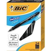 BIC® Gel-ocity® Retractable Gel-Ink Pens, Medium Point, Black Ink, 24/Pack