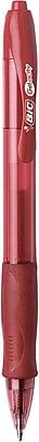 BIC®Gel-ocity® Retractable Gel-Ink Roller Pens, Medium Point, Red, Dozen