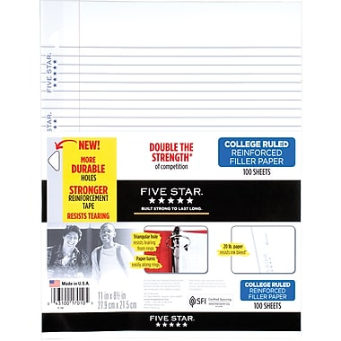 Mead Five Star Reinforced College Ruled Filler Paper, 11 x 8 1/2
