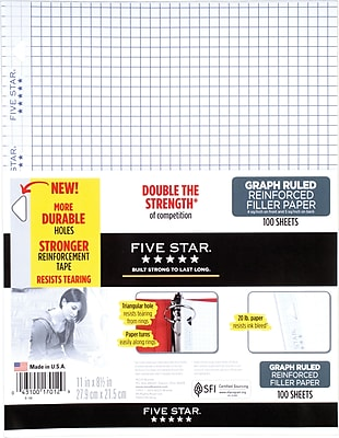 Mead Five Star Reinforced Graph Ruled Filler Paper, 11 x 8 1/2