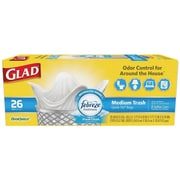 Glad® OdorShield Medium Quick Tie Trash Bags, Fresh Clean Scent, 8 Gallon, 26 Trash Bags/Box