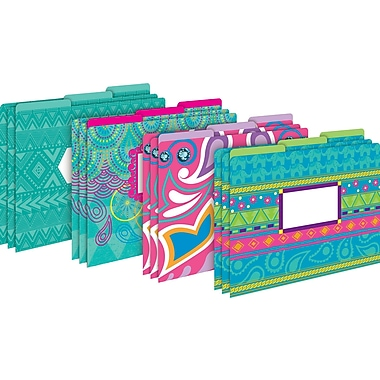 Barker Creek Bohemian Decorative Letter-Sized File Folders, Multi-Design, 3-tab, 12 per package/4 designs (BC1339)