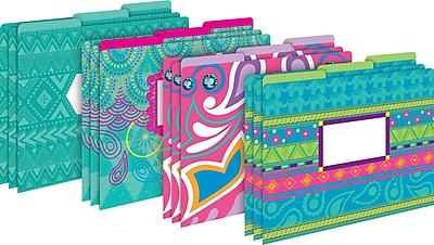 Barker Creek Bohemian Decorative Letter-Sized File Folders, Multi-Design, 3-Tab, 12 per Package/4 Designs