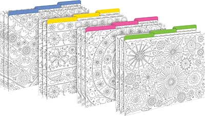 Barker Creek Color Me! In My Garden Decorative Letter-Sized File Folders, Multi-Design, 3-Tab, 12 per Package/4 Designs