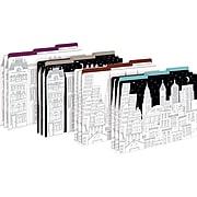 Barker Creek Color Me! Cityscapes Decorative Letter-Sized File Folders, Multi-Design, 3-Tab, 12 per Package/4 Designs