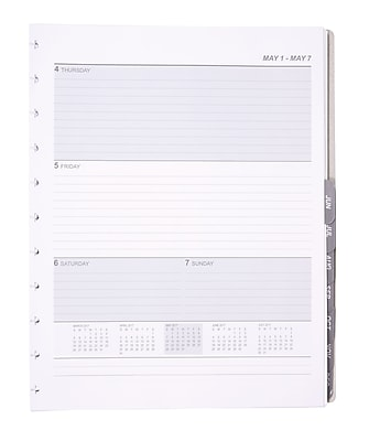Staples® Arc System 2017 Weekly Planner Refill Paper, 8-1/2