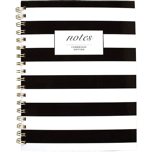 "Cambridge® Fashion Hardcover Business Notebook, 80 Sheets, 9-1/2"" x 7"", Black/White Stripe"