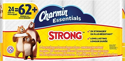 Charmin Essentials Strong™ Toilet Paper, 1-Ply, 300 Sheets/Roll, 24 Giant Rolls/Pack (96897)