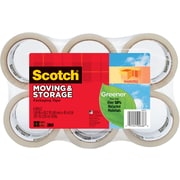 "Scotch® Greener Long Lasting Moving & Storage Packaging Tape, 1.88"" x 49.2 yd, 6/Pack"