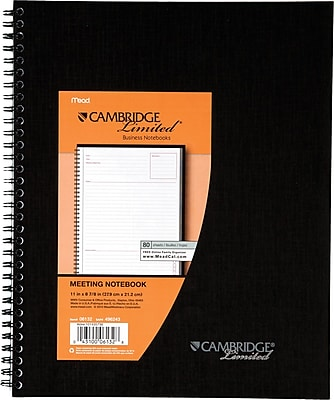 Cambridge® Meeting Format Notebook, 80 Sheets, 8-7/8