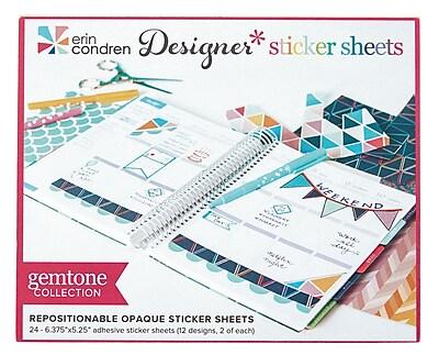 Erin Condren Designer Sticker Sheet, Gemtone, 24 Sheets (2106845)