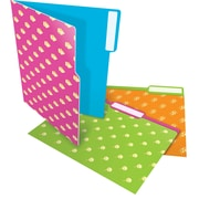 Staples® Heavyweight Candy File Folders, Letter, 3 Tab, 6/Pack (28873)