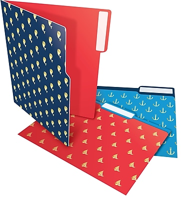 Staples® Heavyweight Nautical File Folders, Letter, 3 Tab, 6/Pack (28876)