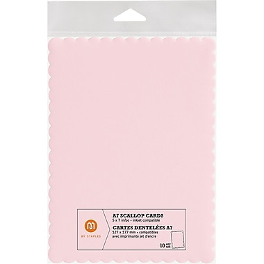 M by Staples®, Scallop Shape Card, A7, Pink, 10/pack, (10832002)