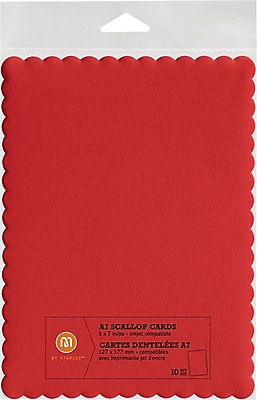 M by Staples®, Scallop Shape Card, A7, Red, 10/pack, (10832003)20