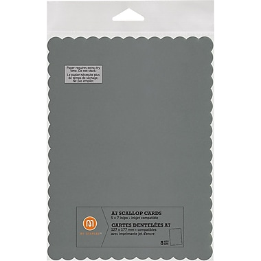 M by Staples®, Scallop Shape Card, A7, Silver, 8/pack, (10832012)