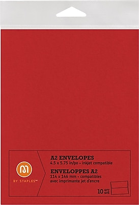 M by Staples®, Envelopes, A2, Red, 10/pack, (10836003)67