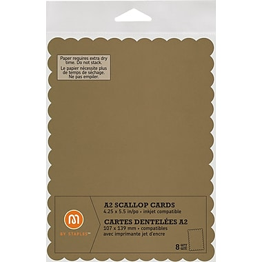M by Staples®, Scallop Shape Card, A2, Gold, 8/pack, (10835009)