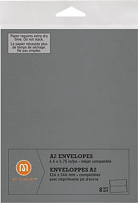 M by Staples®, Envelopes, A2, Silver, 8/pack, (10836012)60