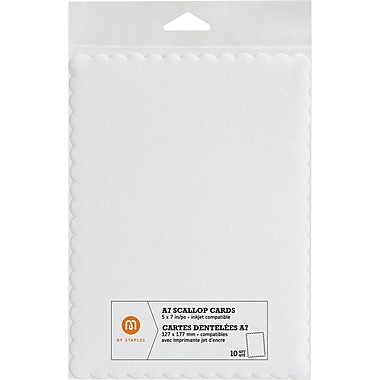 M by Staples®, Scallop Shape Card, A7, White, 10/pack, (10832000)