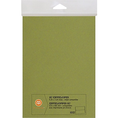 M by Staples®, Envelopes, A7, Green, 10/pack, (10833005)