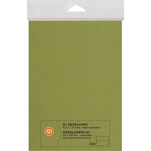 m by staples envelopes a7 green 10 pack 10833005 staples