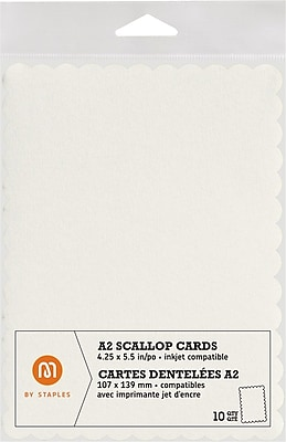 M by Staples®, Scallop Shape Card, A2, Ivory, 10/pack, (10835001)50
