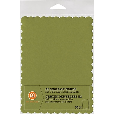 M by Staples®, Scallop Shape Card, A2, Green, 10/pack, (10835005)