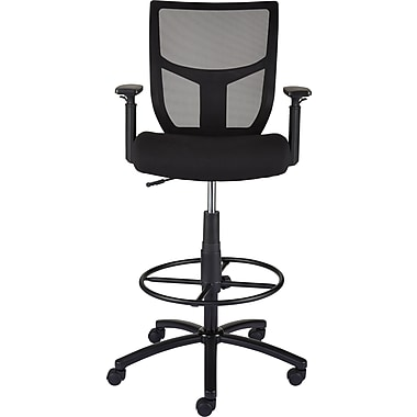 Staples Cabal Black Fabric and Mesh Task Stool with Arms