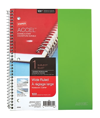 Staples® Accel, Durable Poly Cover 1 Subject Notebook, Wide Ruled, 8-1/2