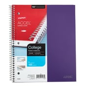 "Staples® Accel, Durable Poly Cover 1 Subject Notebook, College Ruled, 8-1/2"" x 11"", Purple (20954M-CC)"
