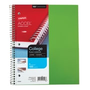"Staples® Accel, Durable Poly Cover 1 Subject Notebook, College Ruled, 8-1/2"" x 11"", Green (51451M)"