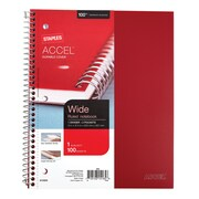 "Staples Accel®, Durable Poly Cover 1 Subject Notebook, Wide Ruled, 8"" x 10-1/2"", Red (20958M)"
