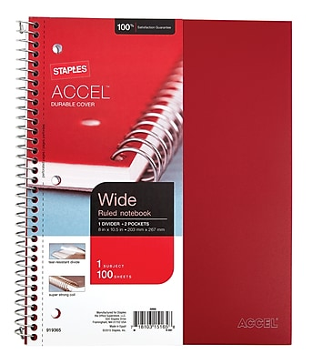 Staples Accel®, Durable Poly Cover 1 Subject Notebook, Wide Ruled, 8