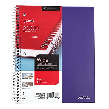 Staples® Accel, Durable Poly Cover 1 Subject Notebook, Wide Ruled, 8