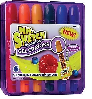 Mr. Sketch® Scented Twistable Gel Crayons, Assorted, 6 Pack