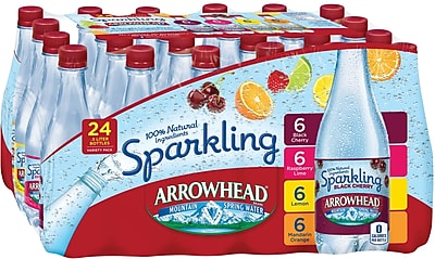 Arrowhead Brand Sparkling Mountain Spring Water, Variety Pack 16.9 Ounce Plastic Bottles, 24/Pack (12093605) (12349681/120936)