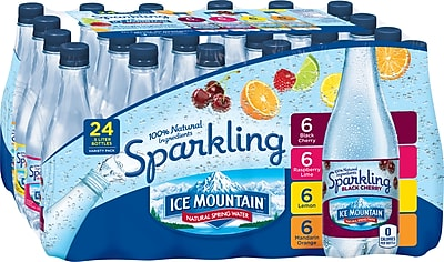 Ice Mountain Brand Sparkling Natural Spring Water, Variety Pack 16.9 Ounce Plastic Bottles, 24/Pack (12129032)