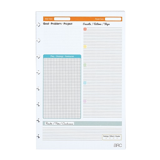 staples arc system project planner refill paper 5 1 2 x 8 1 2